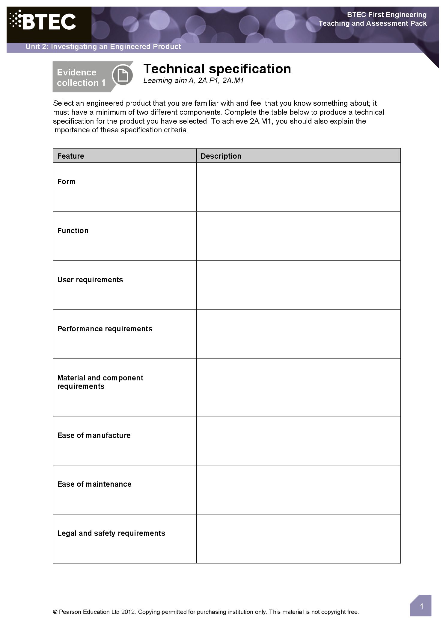 engineering ready made sheets to help capture learner evidence for assignments